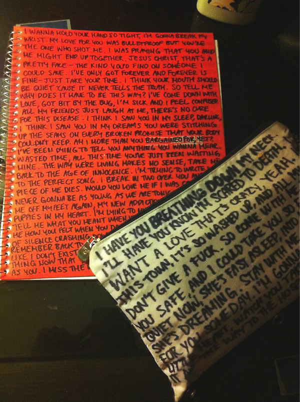 Angsty teen lyrics on notebook