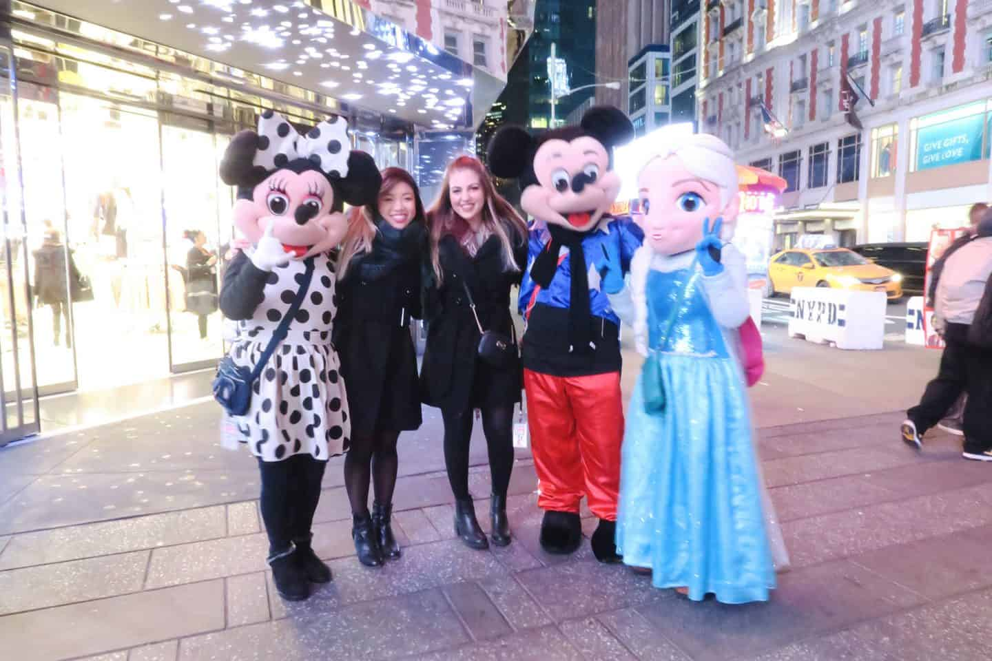 Disney characters at Times Square in New York City
