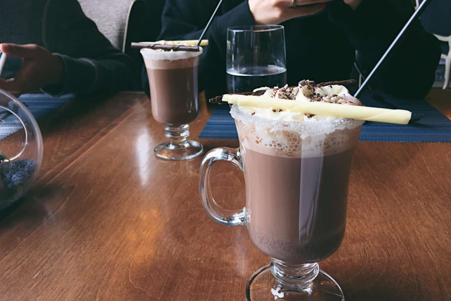 Hot chocolate cocktails at Fairmont Lake Louise in Banff, Alberta
