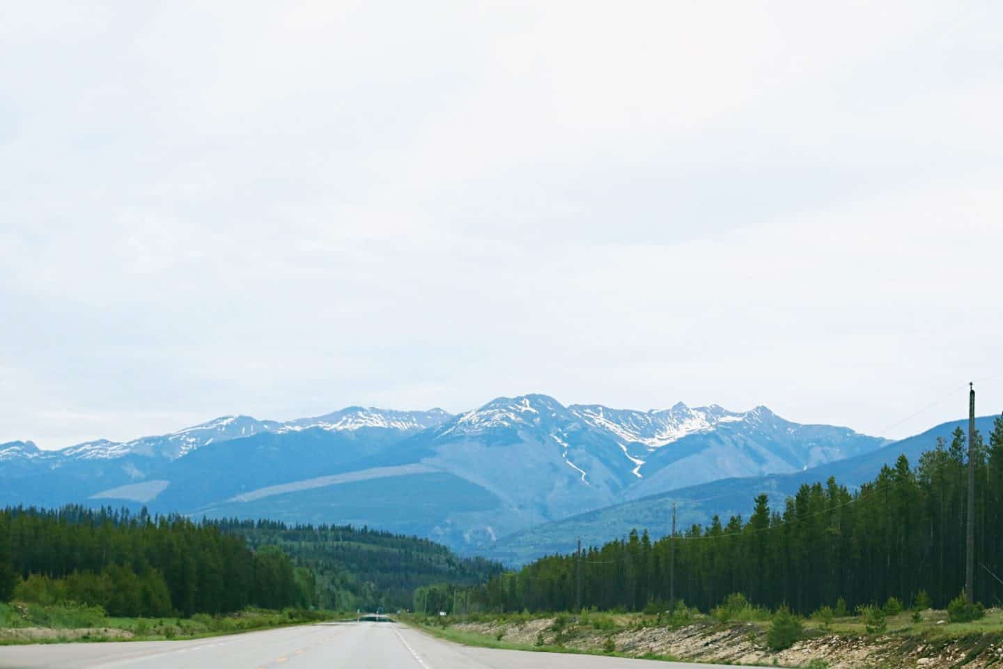 Driving along Icefields Parkway in Banff, Alberta