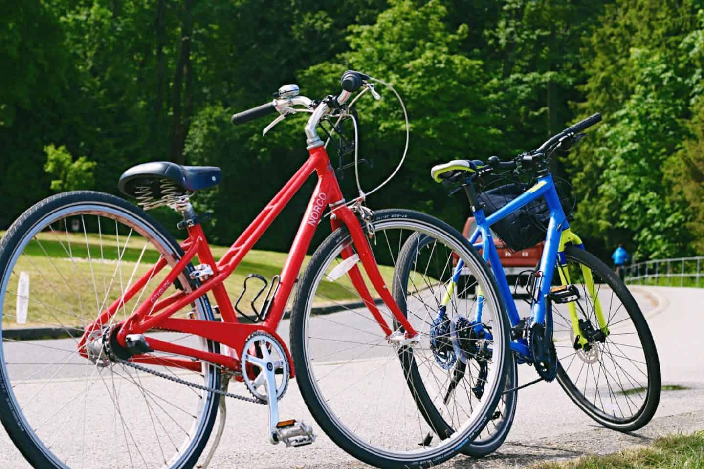 Biking along Stanley Park Seawall, Vancouver, British Columbia