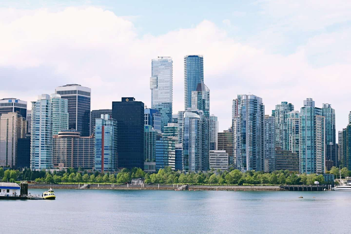 Vancouver skyline view from Stanley Park Seawall in Vancouver, British Columbia