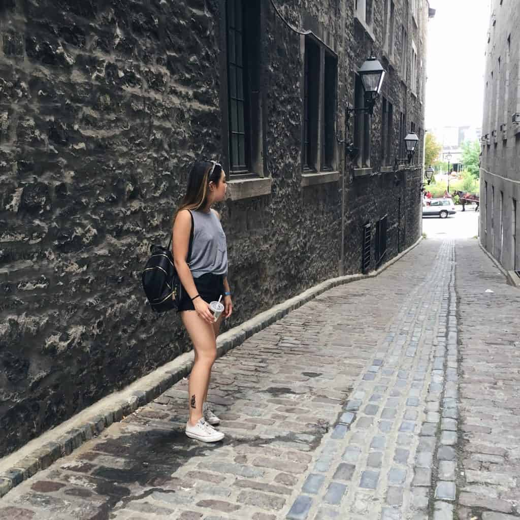 A European-inspired cobblestone alleyway in Old Montreal, Quebec