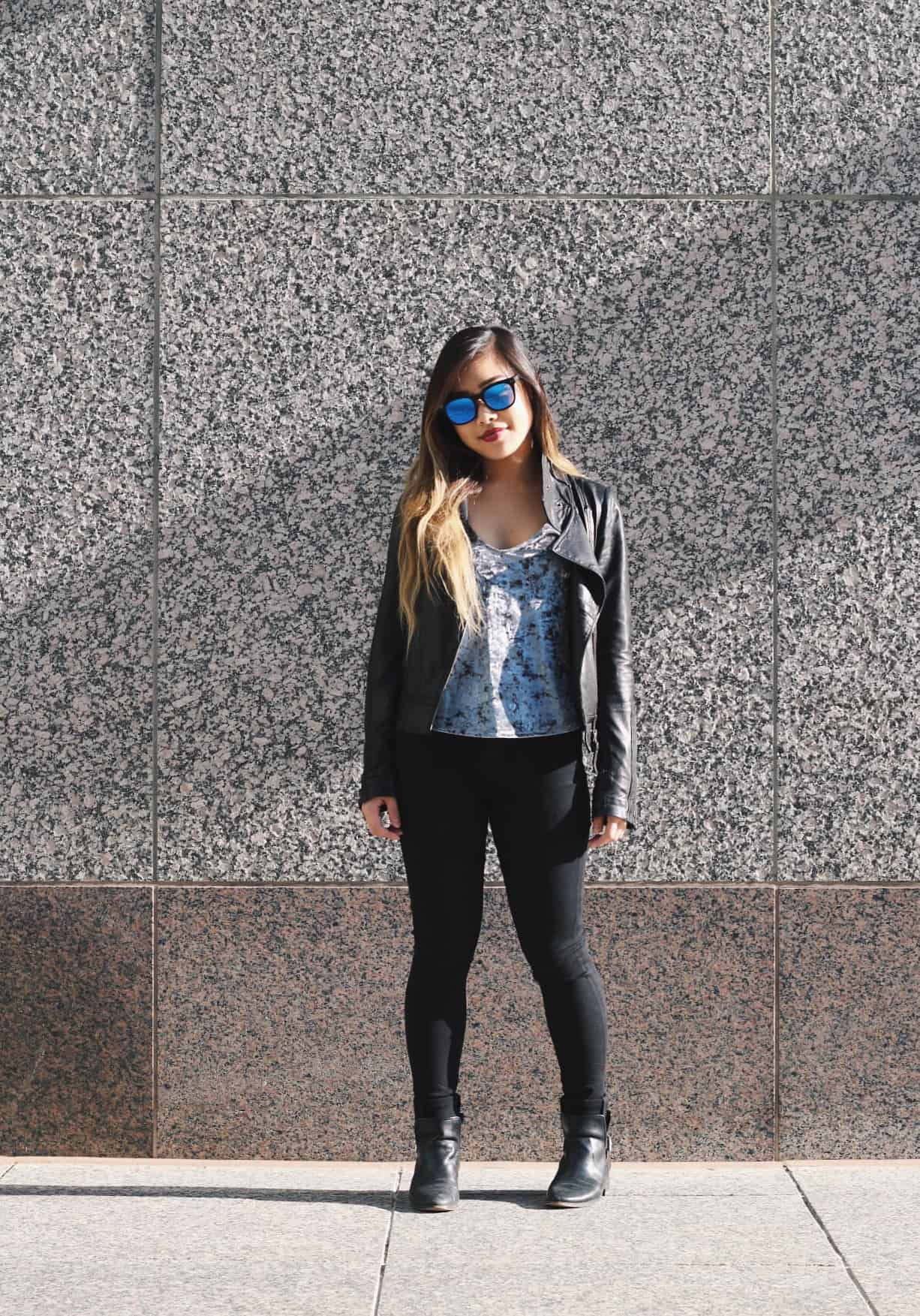 Casual fall outfit featuring black leather jacket and black denim