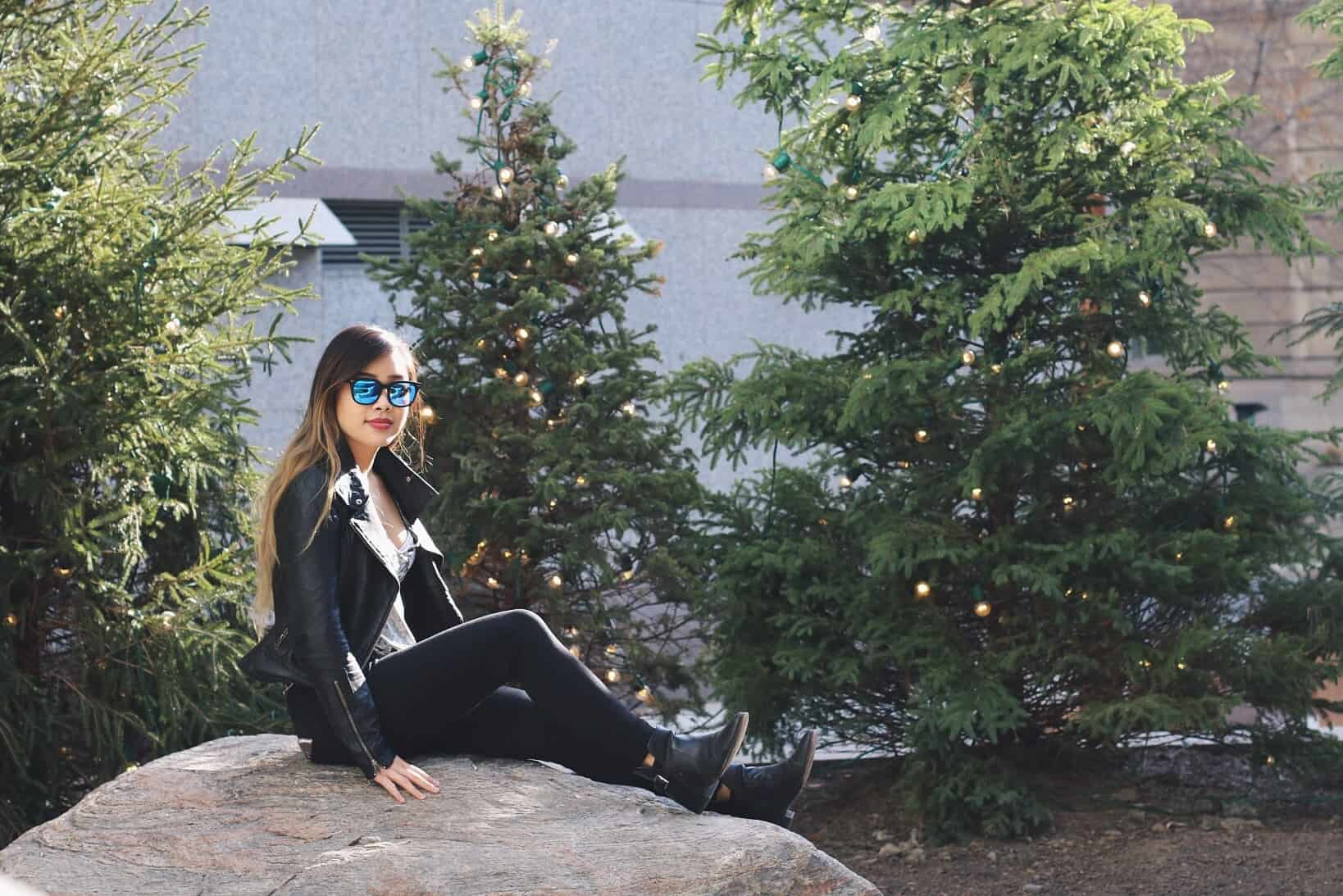 A simple and casual fall outfit you can wear everyday is a leather jacket, black denim, and black booties, paired with whatever top you're feeling that day.