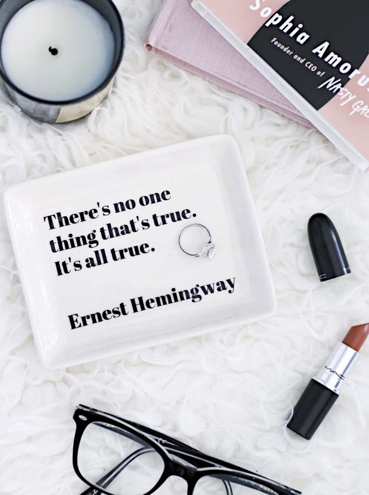 Ernest Hemingway quote flat lay