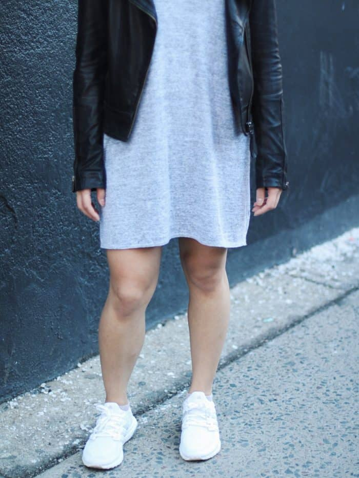 Grey shift dress + black leather jacket + white adidas sneakers