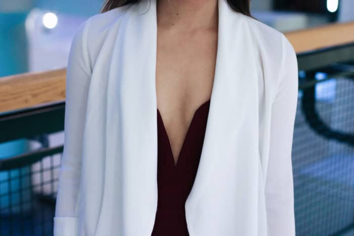 Nastygal Helix Dress + Aritzia Ivory Fabric Blazer