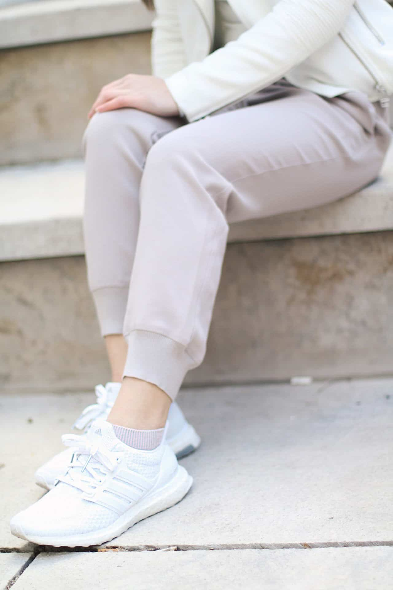 How to style white sneakers for spring weather   casual spring outfit ideas and inspiration   styling Adidas triple white Ultra Boost sneakers   Diary of a Toronto Girl, a Canadian lifestyle blog