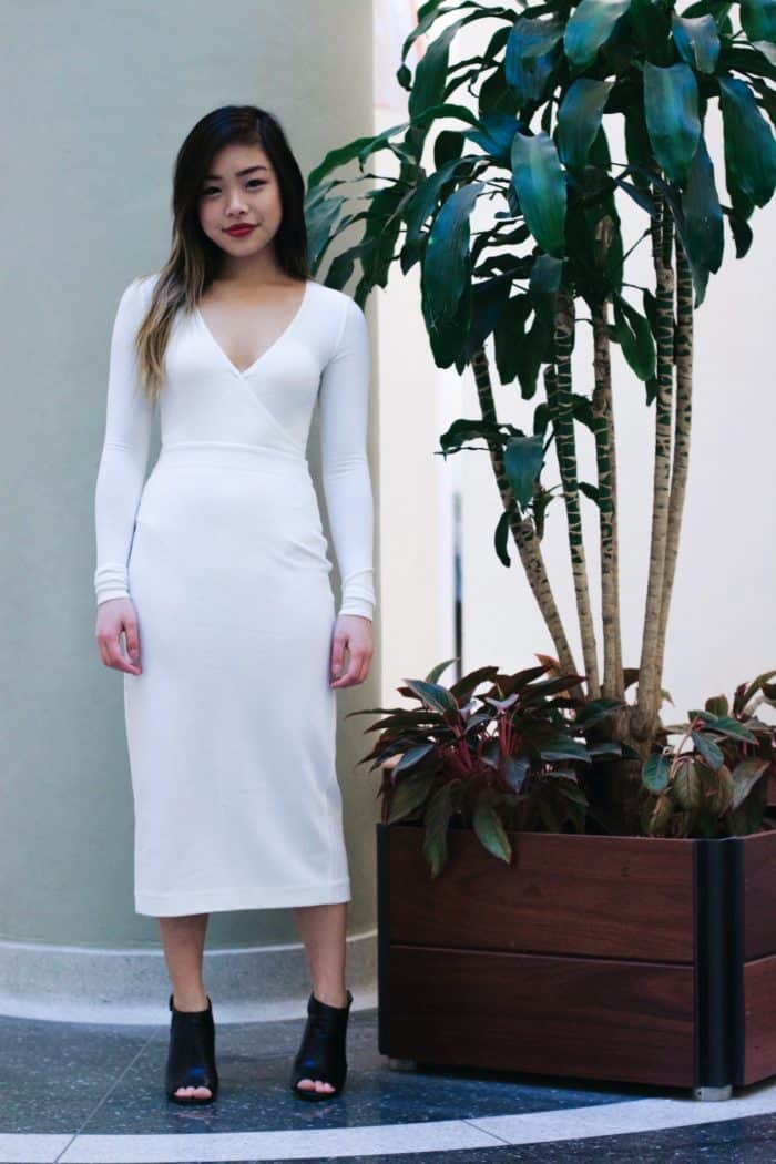 Aritzia Crossover Bodysuit + Aritzia Ivory Maxi Bodycon Skirt + Vince Camuto Heels