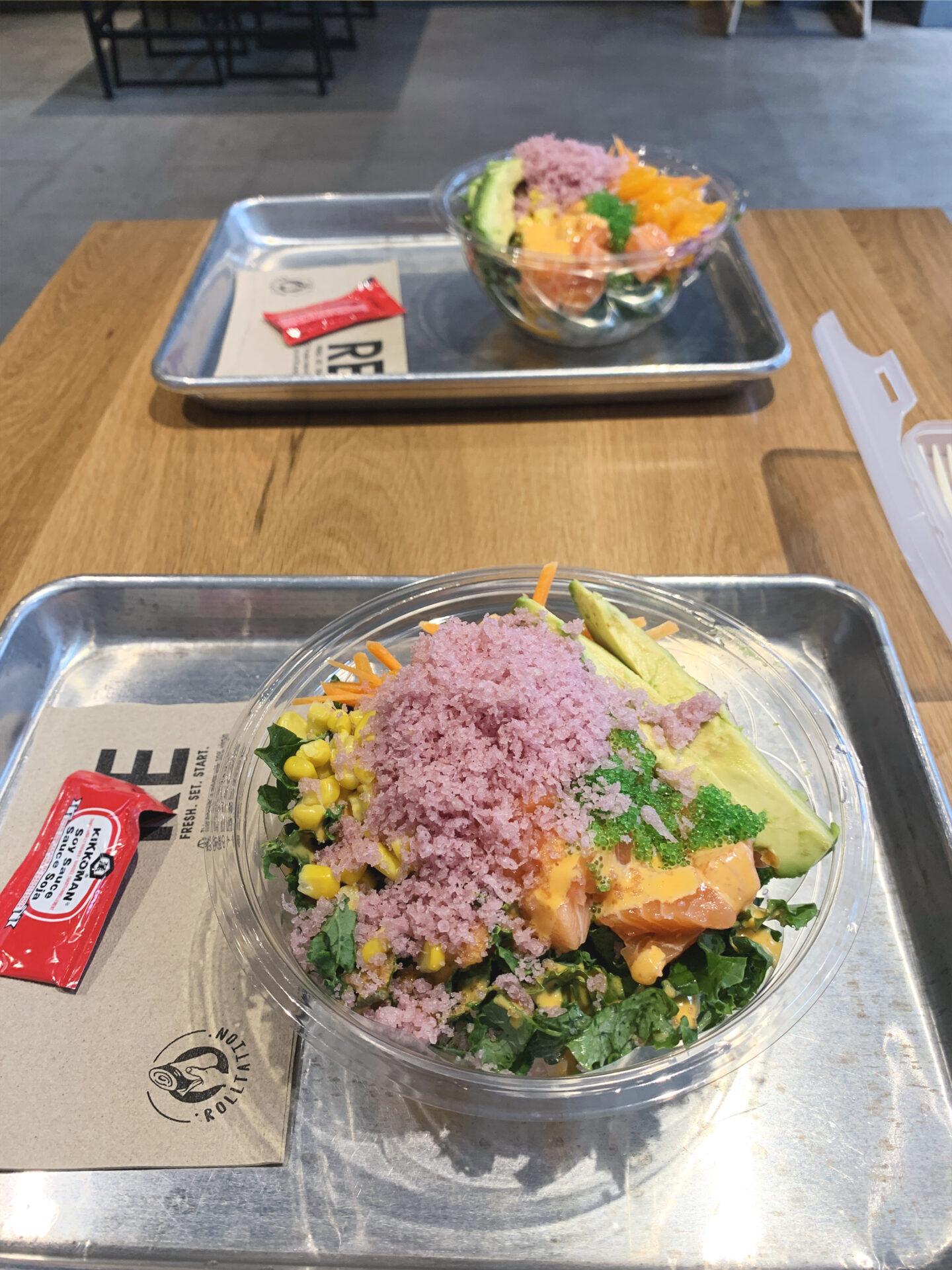 Classic Salmon poké bowl at Rolltation Toronto