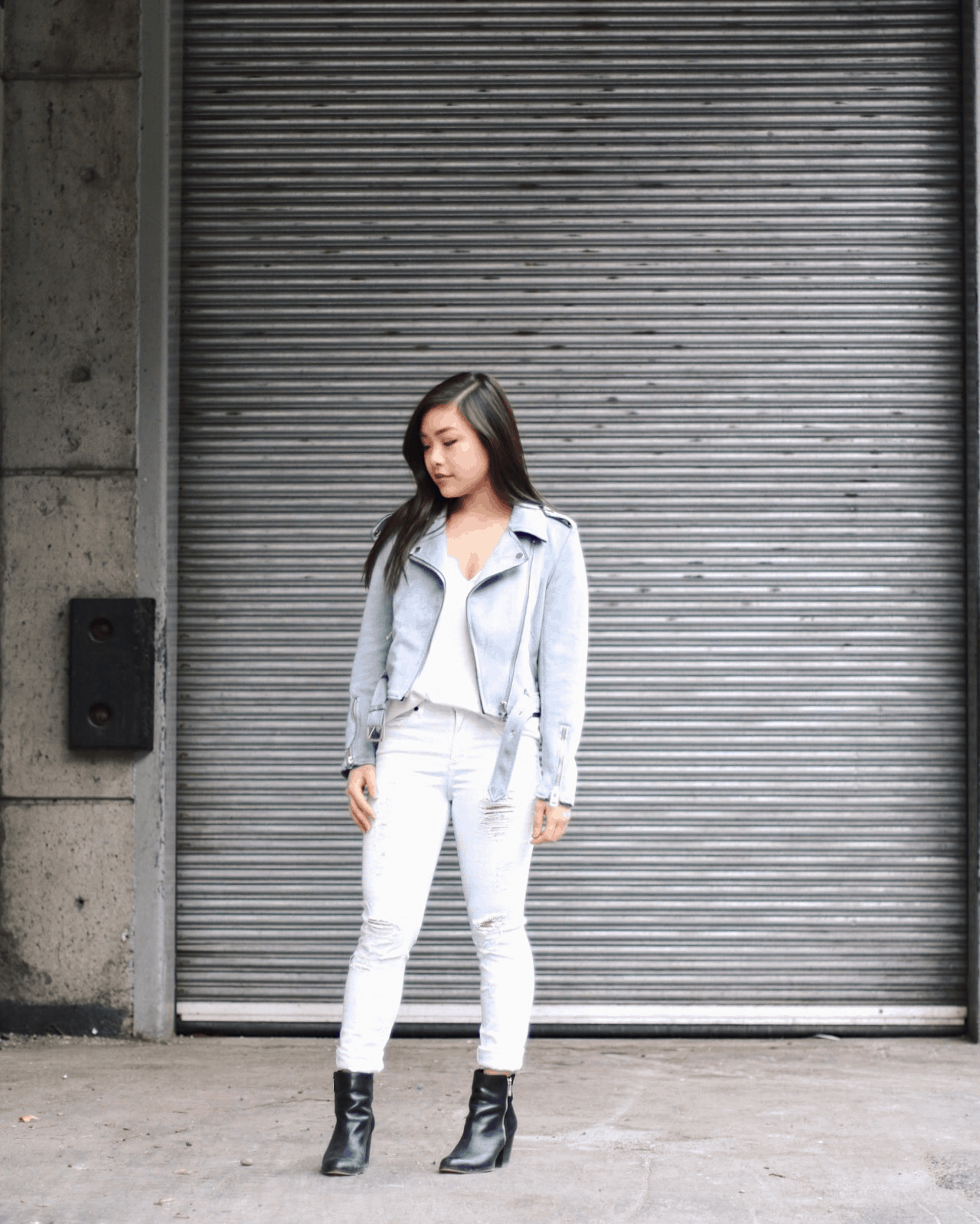 Zara baby blue suede moto jacket outfit