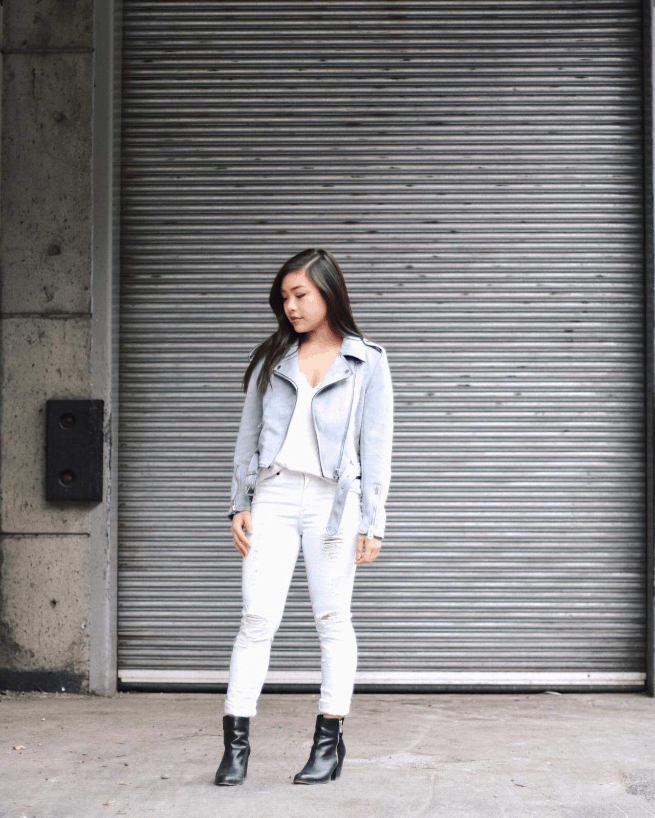 Baby Girl I'm Blue: Blue Suede Moto Jacket + White Denim