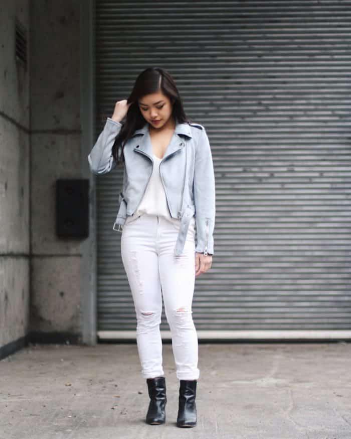 Zara Sky Blue Moto Zip Jacket