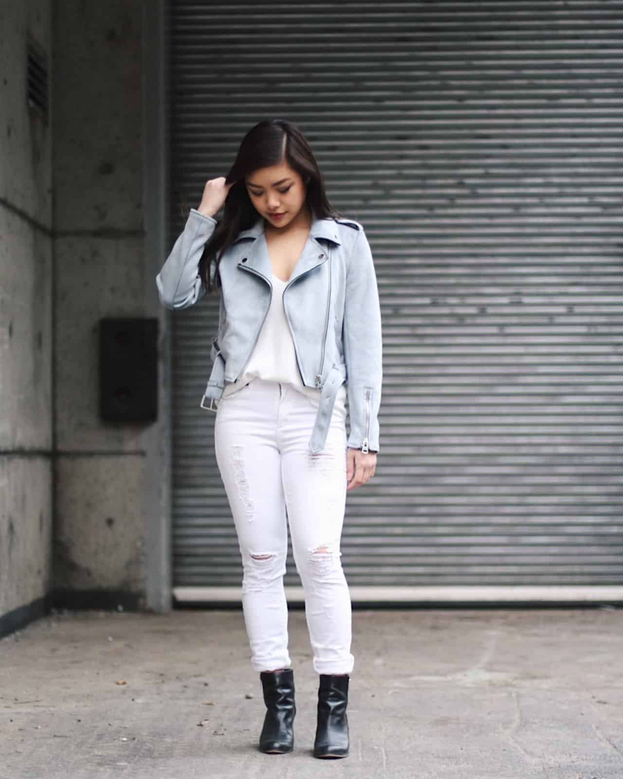 How to style a blue suede moto jacket   spring outfit ideas   tips on sprucing up a white on white outfit   Zara baby blue faux suede leather jacket with white high waisted distressed denim and black booties   Diary of a Toronto Girl, a Canadian lifestyle blog