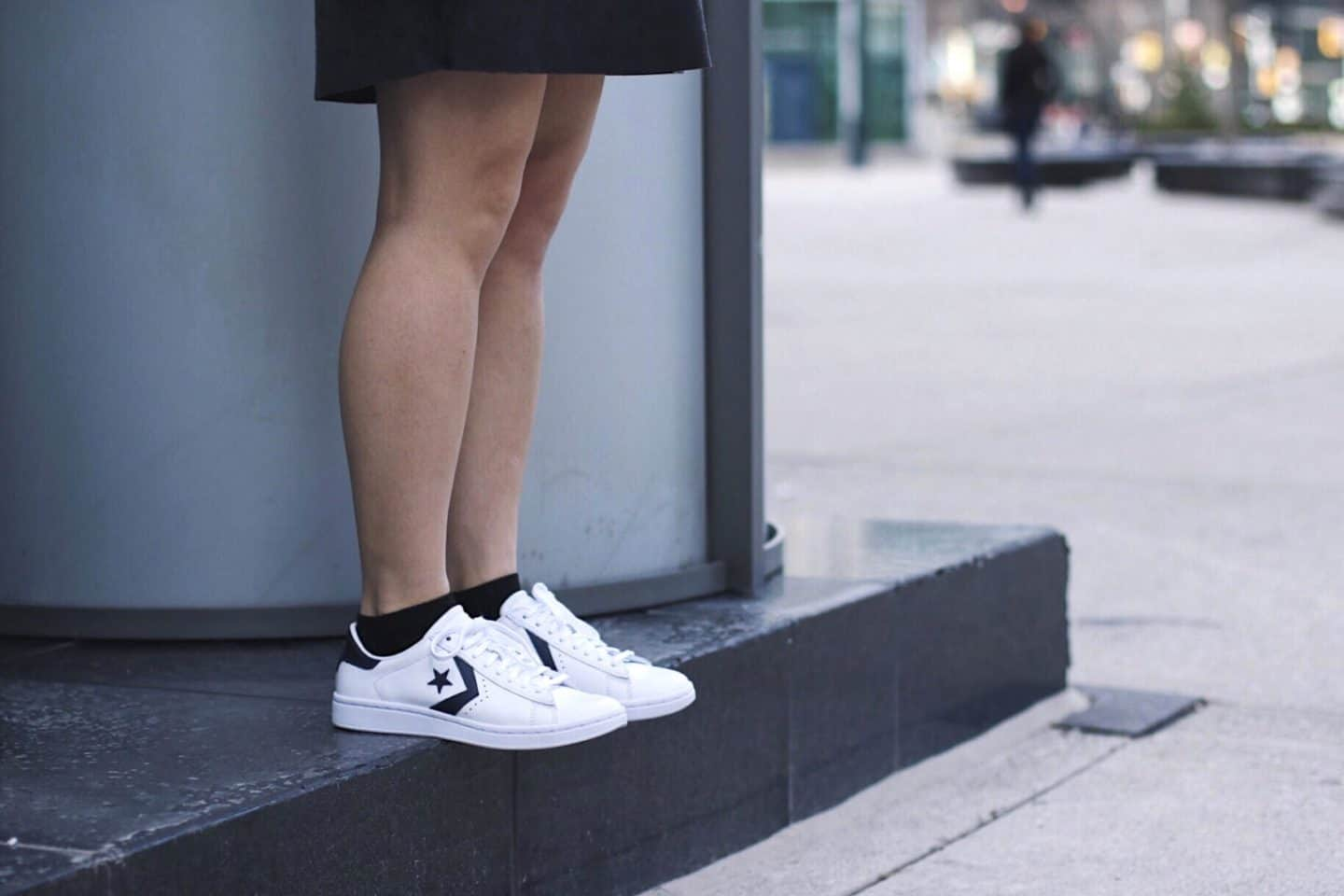 How to style dresses with sneakers | spring outfit ideas | tips on styling Converse | grey suede slip dress with off-white ivory moto jacket and Converse Pro Leather LP sneakers | Diary of a Toronto Girl, a Canadian lifestyle blog