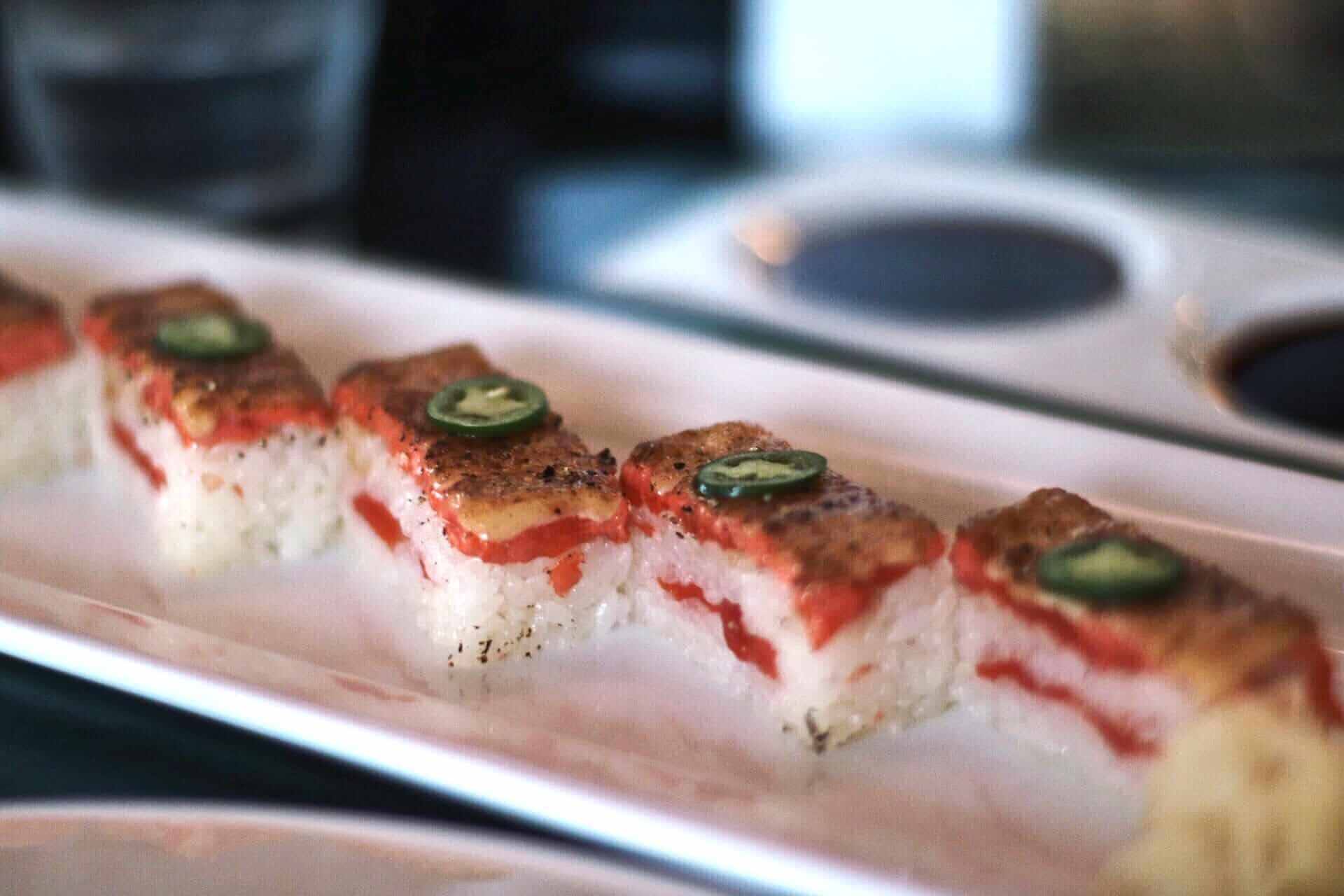 Salmon aburi at Miku Sushi in Vancouver, British Columbia