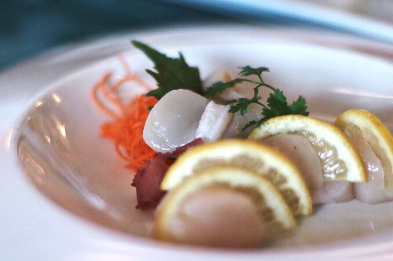 Scallop sashimi at Miku Sushi in Vancouver, British Columbia