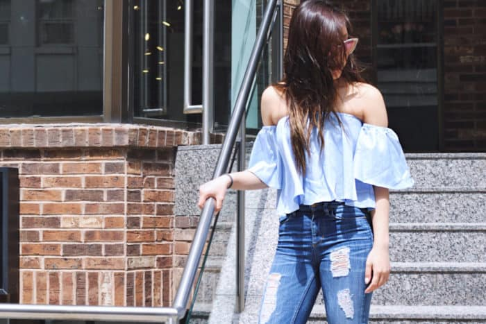 Romwe Blue Off The Shoulder Bell Sleeve Crop Top
