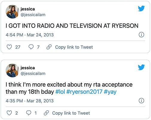 Ryerson University acceptance tweets