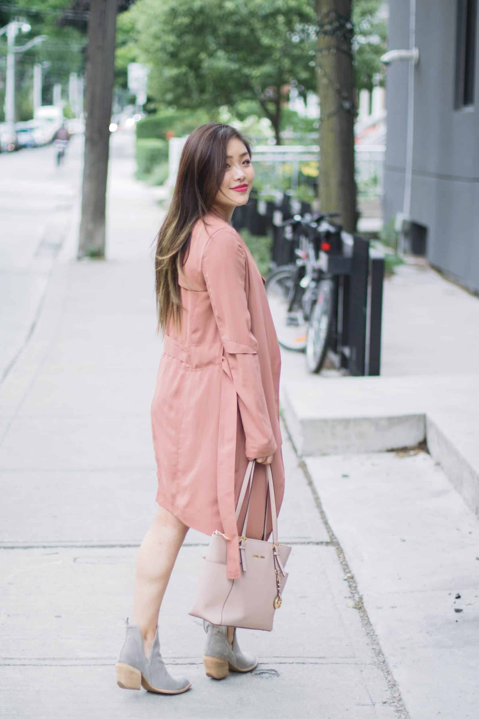 Pretty in Pink: White Slip Dress + Pink Trench Coat