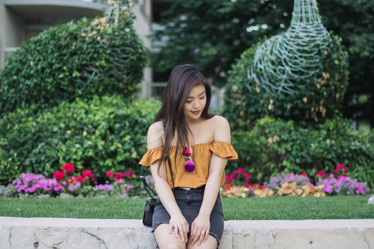 Summer Fades to Fall: Mustard Off-the-Shoulder Top + Black Denim Skirt