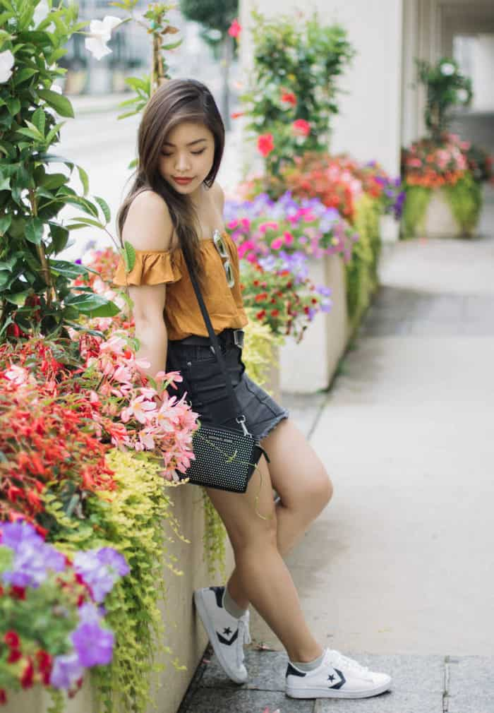 Forever 21 mustard off-the-shoulder crop top | Romwe black denim skirt | Converse Pro Leather LP sneakers