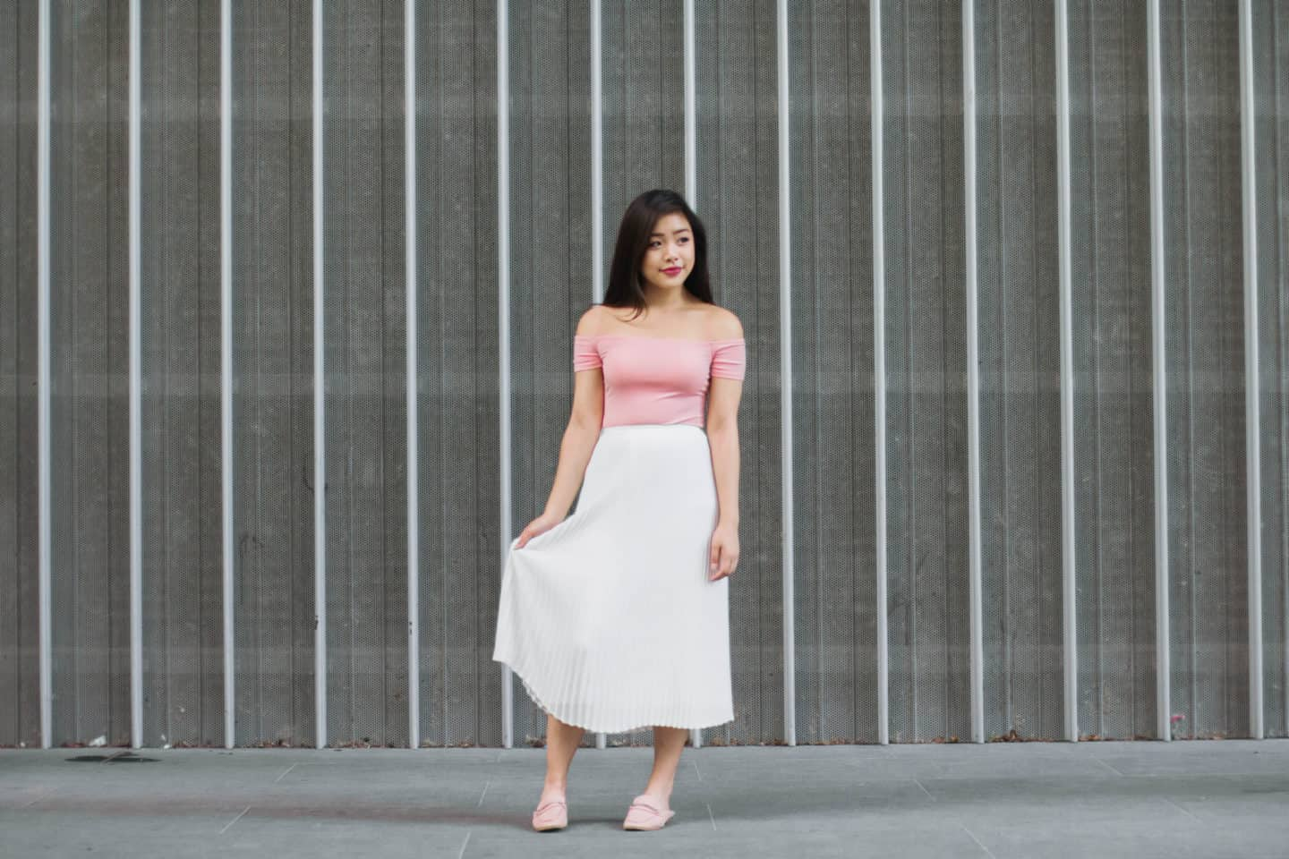 Pleat it Out: Off-the-Shoulder Bodysuit + Pleated Midi Skirt