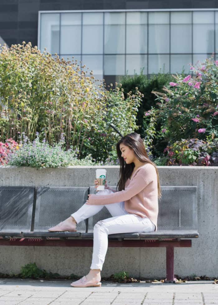 Transitioning from summer to fall with knit sweaters
