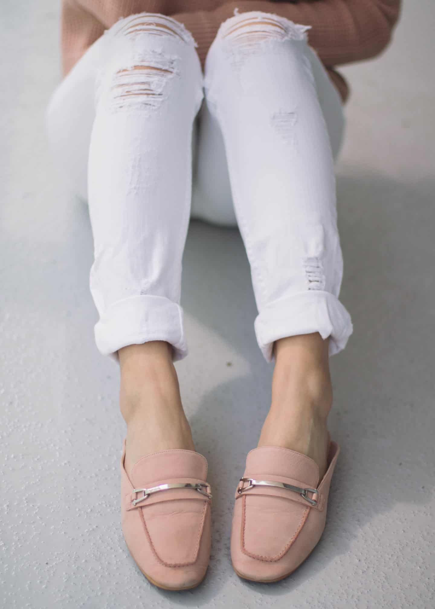 Guess distressed white jeans with Nordstrom pink mules