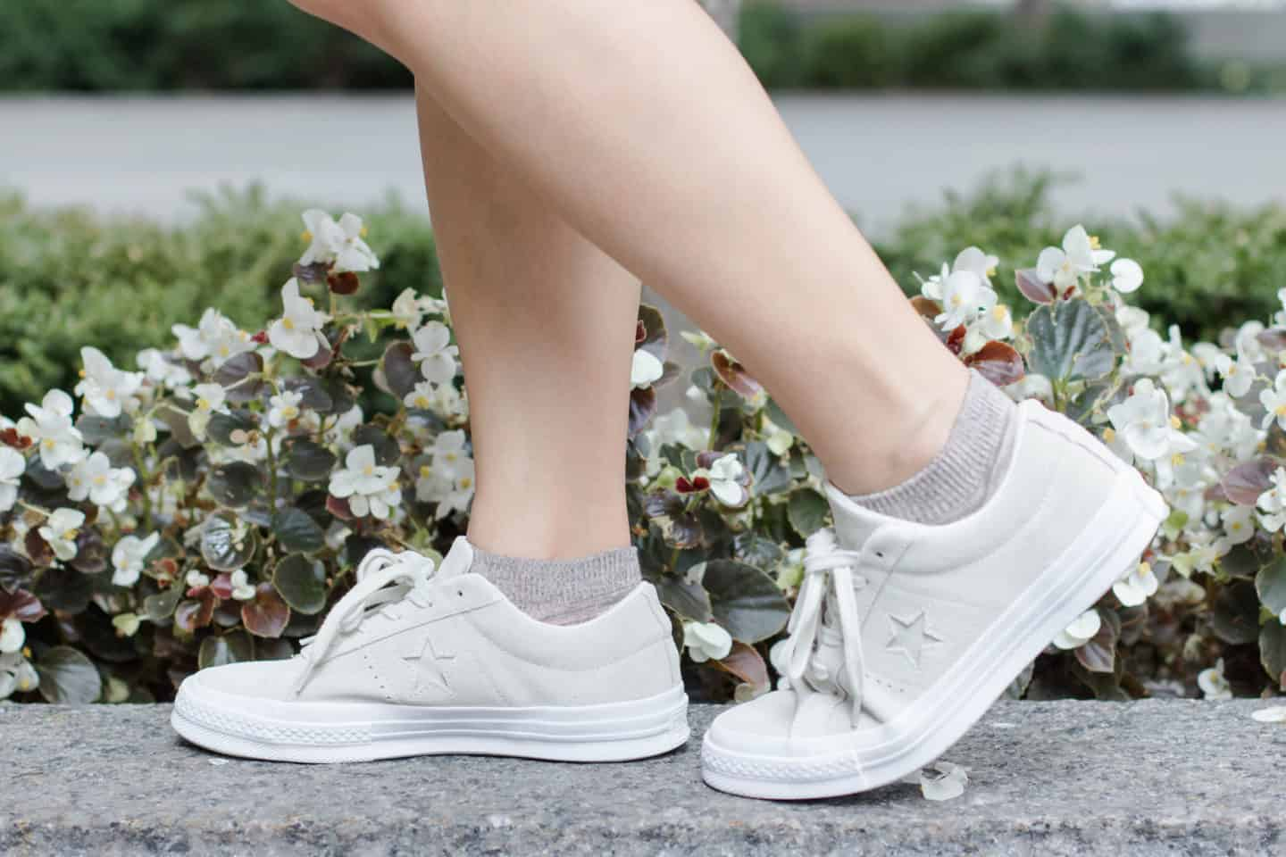 Suede white Converse One Star sneakers