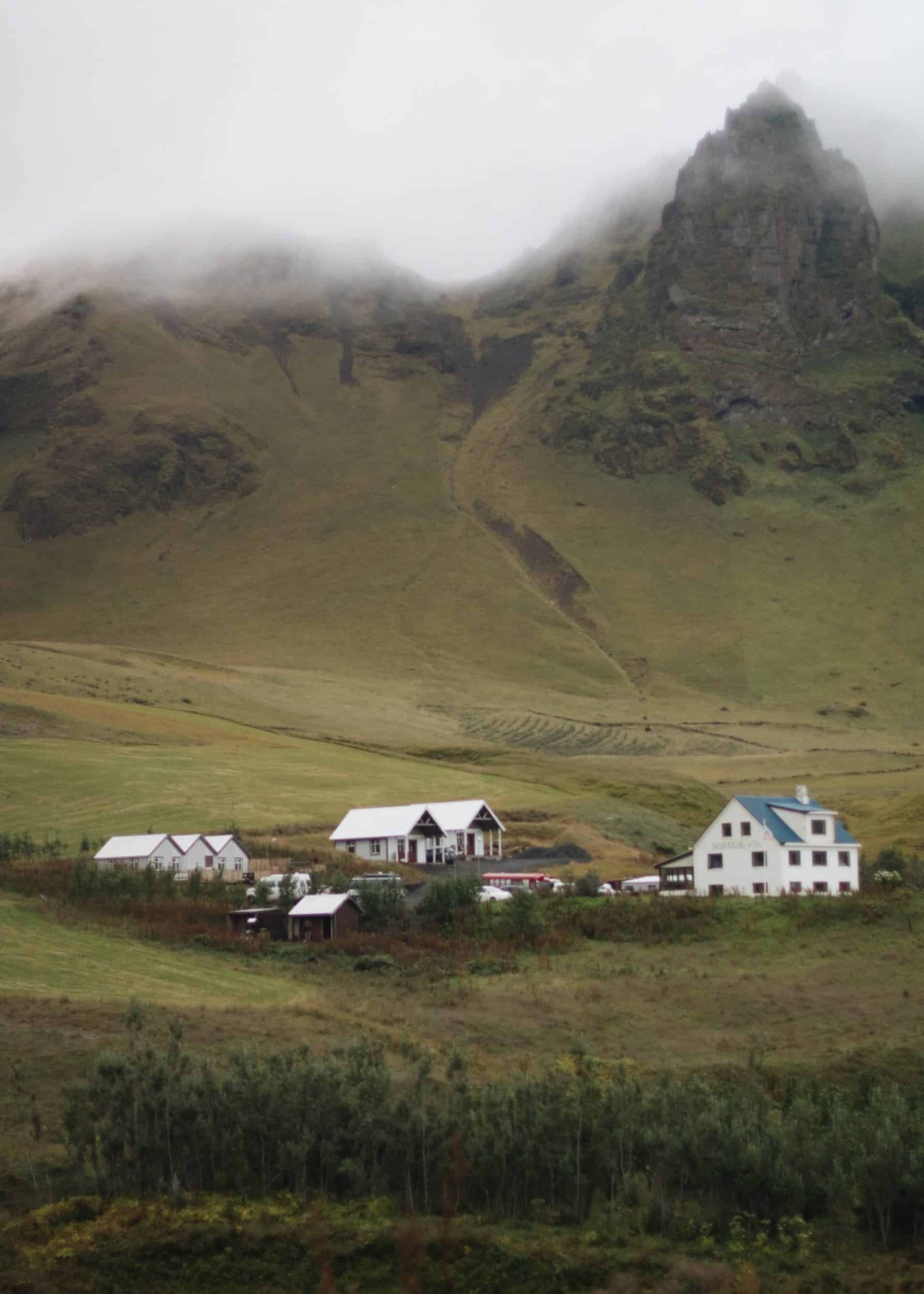 Houses on the mountains in Iceland