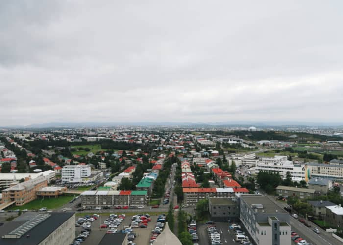 View from the top of Hallgrimskirkja Church in Iceland