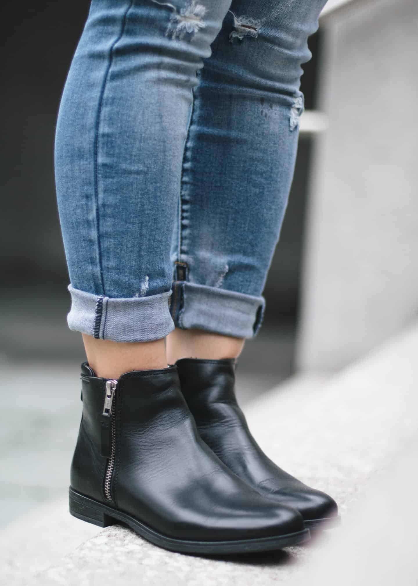 One Teaspoon distressed denim and Steve Madden black leather booties