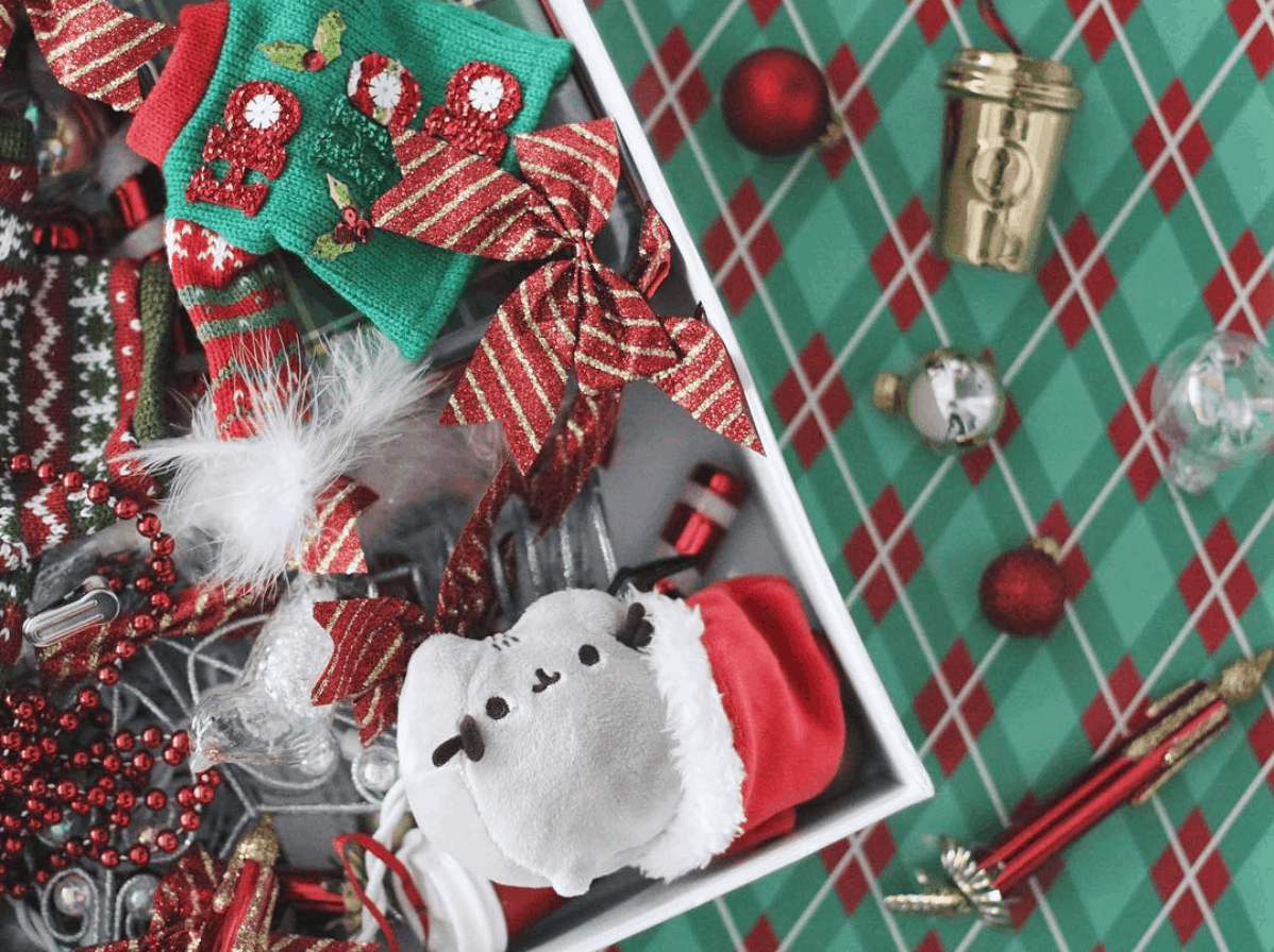 Christmas flat lay with festive holiday ornaments