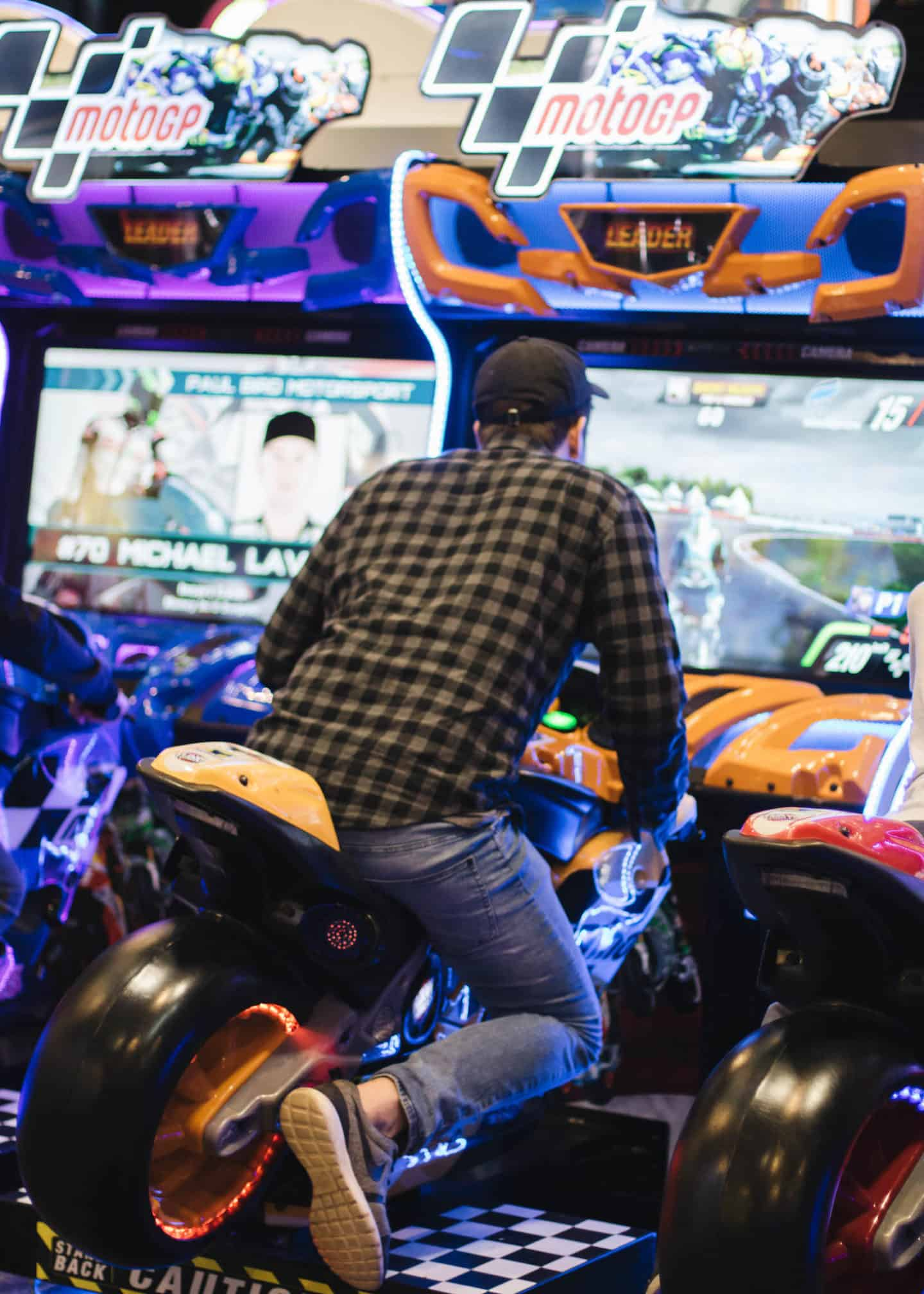 Motorcycle racing game at The Rec Room Toronto