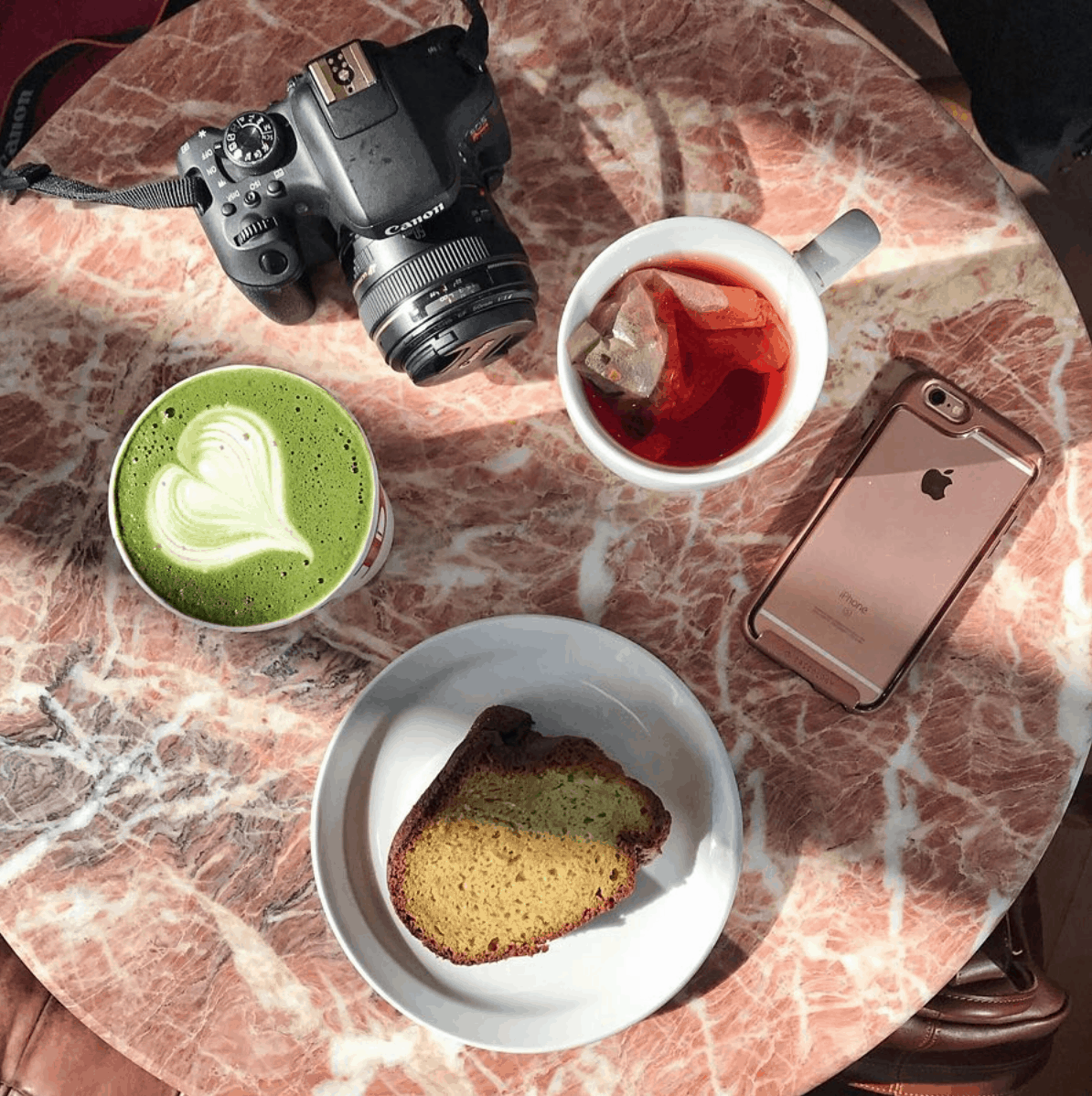 A coffee shop flat lay photo