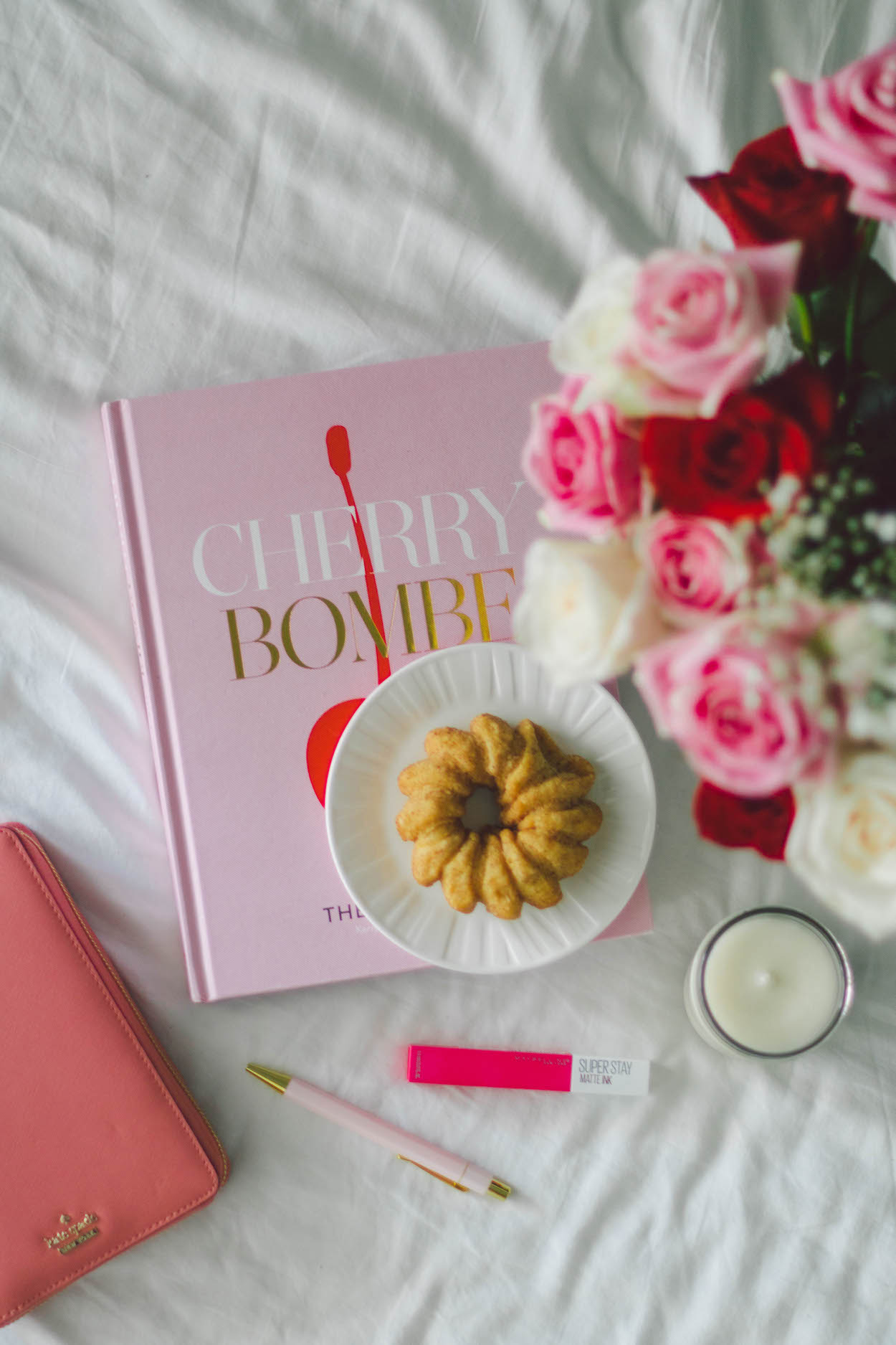 Pink Cherry Bombe cookbook flat lay