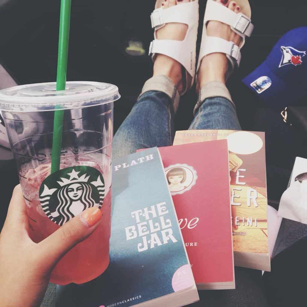 Starbucks and novels flat lay