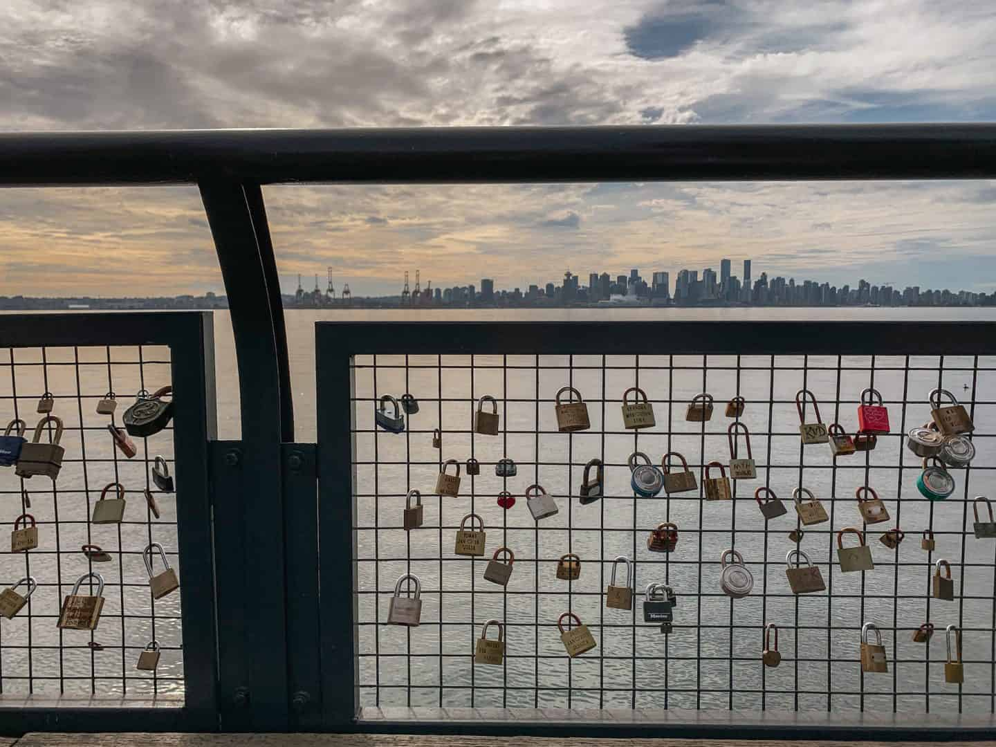 Love locks at the Lonsdale Quay in North Vancouver, British Columbia