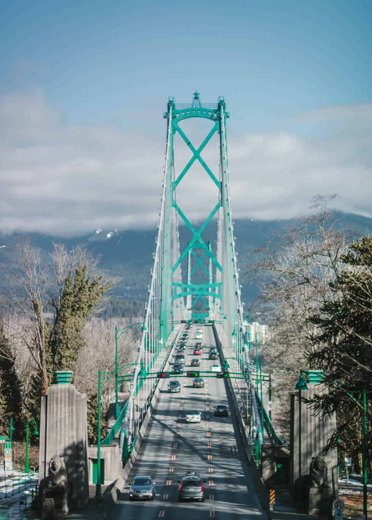 Lion's Gate Bridge from Stanley Park in Vancouver, British Columbia