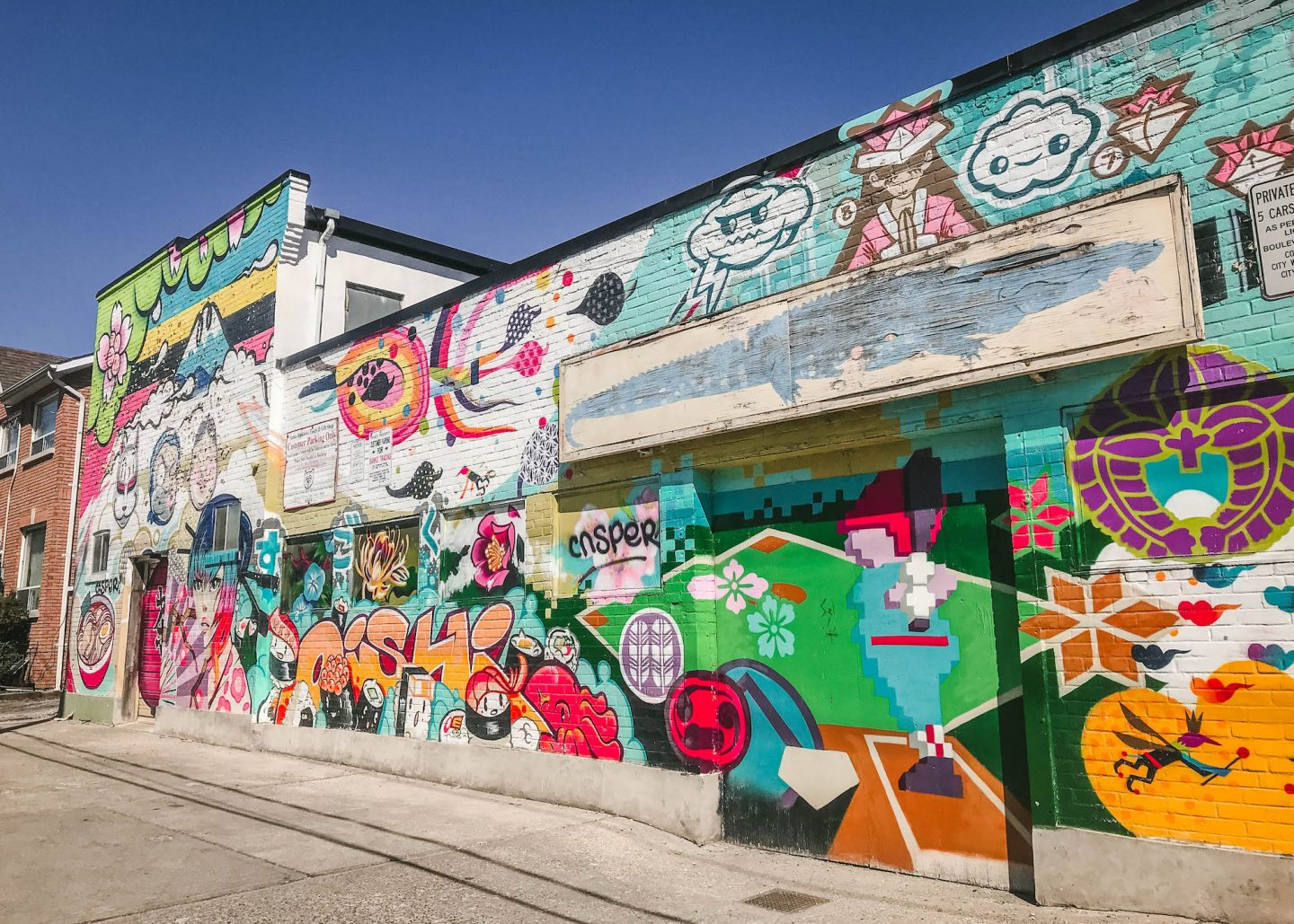 Colourful cartoon mural, Toronto