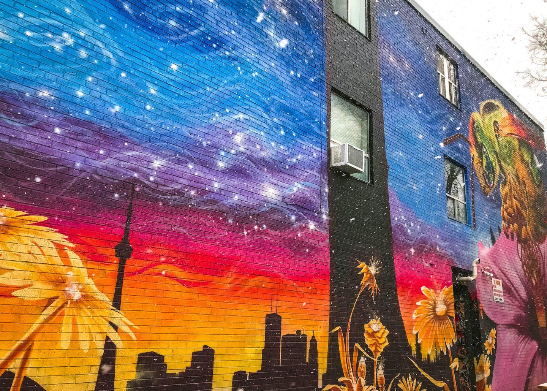 Toronto skyline mural in the Annex