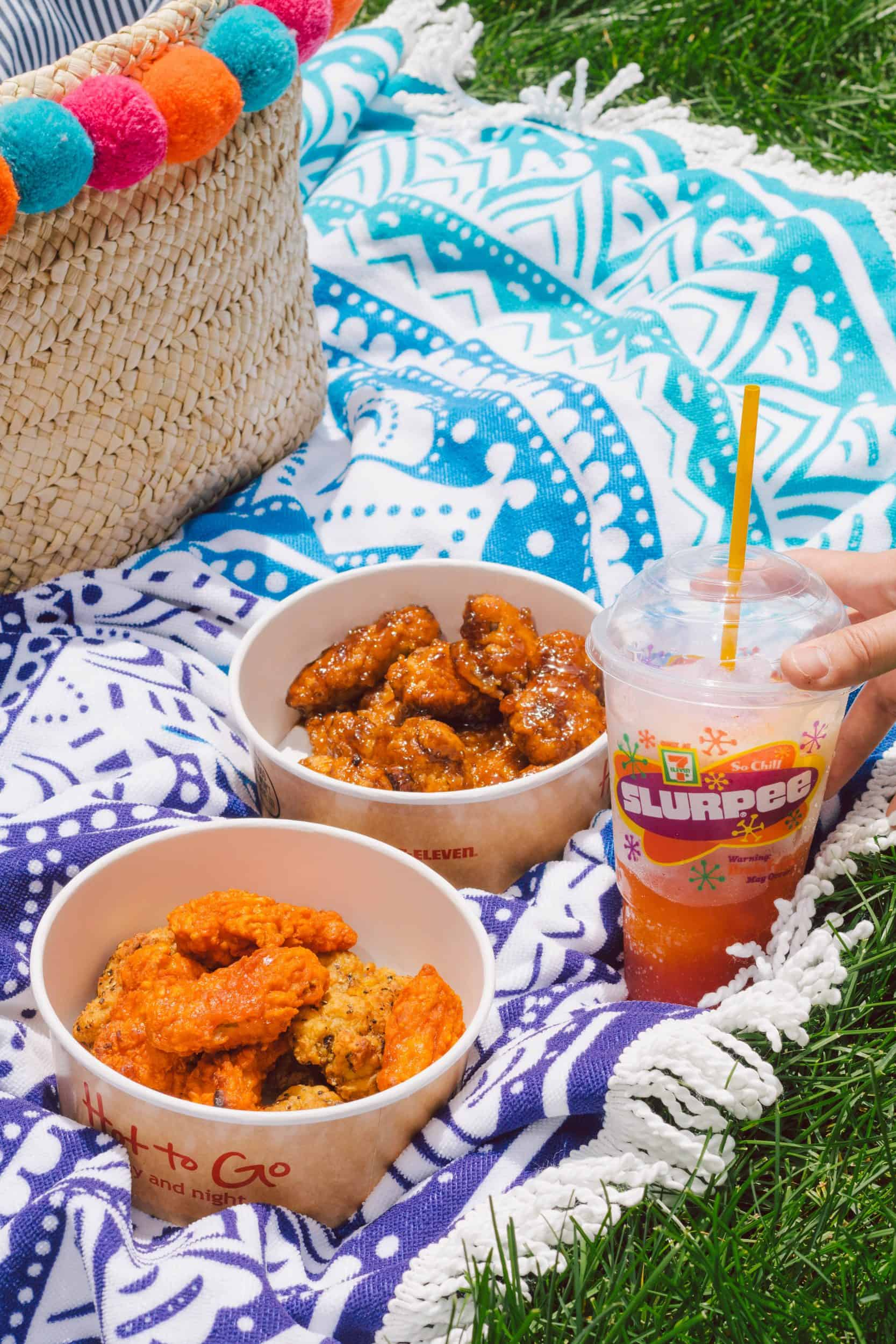 Chicken wings and Slurpee at 7-Eleven Canada