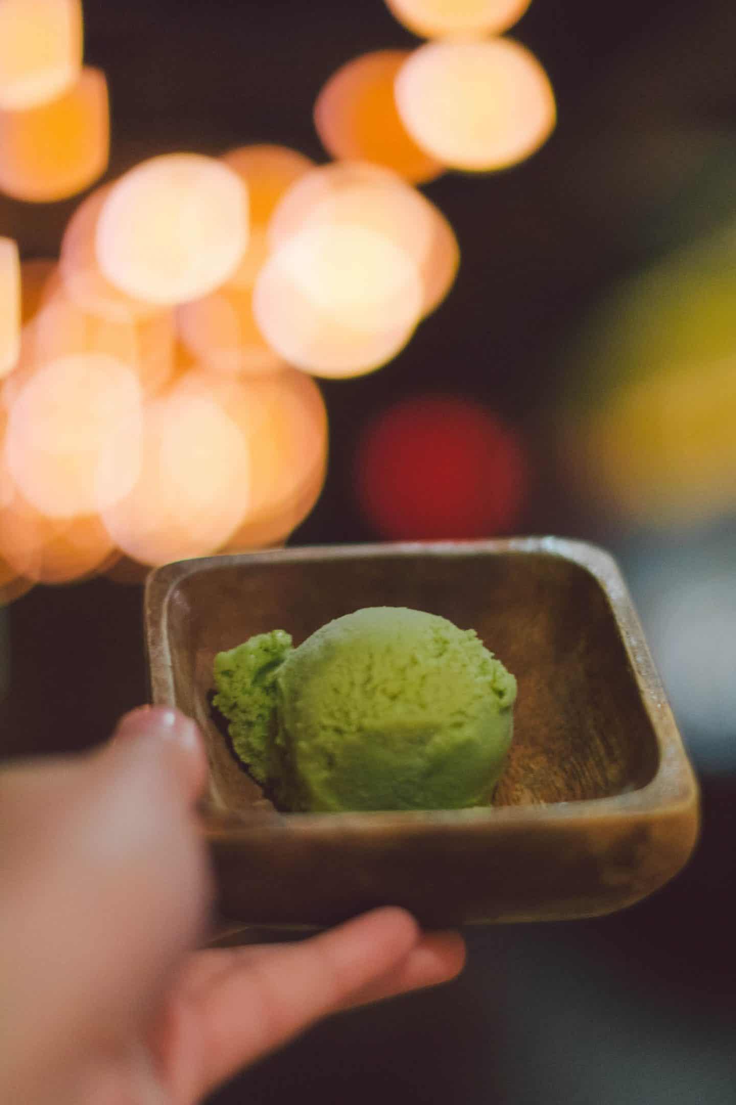 Matcha ice cream at Kinka Izakaya in Toronto