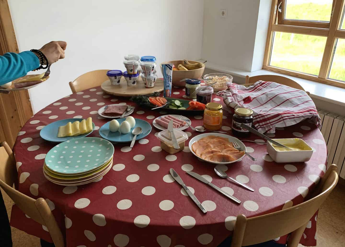 Our Airbnb host at the Laugabol Horse Farm in the Westfjords had a homemade breakfast spread set up for guests every morning