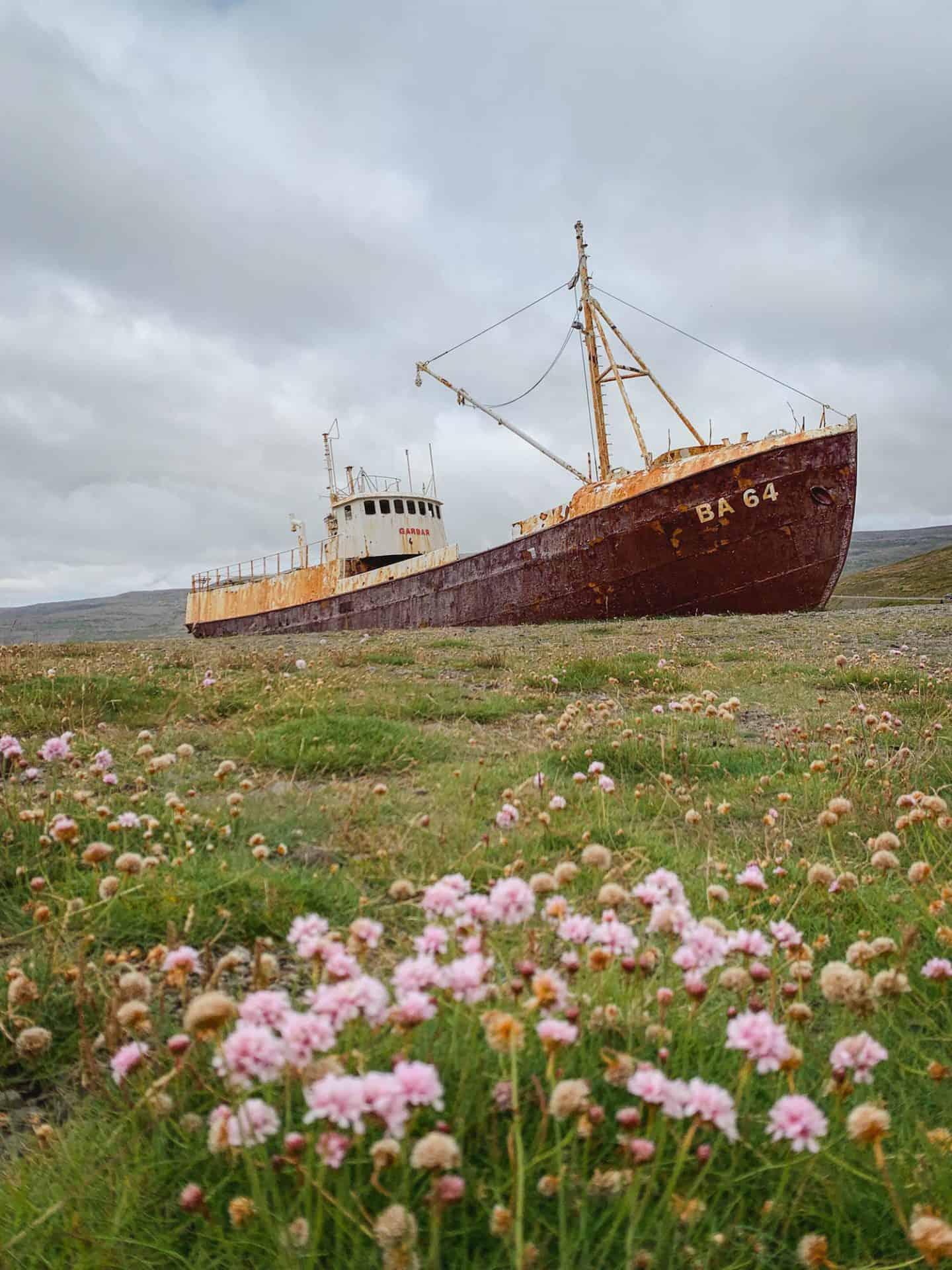 Garðar BA 64 ship in the Westfjords of Iceland