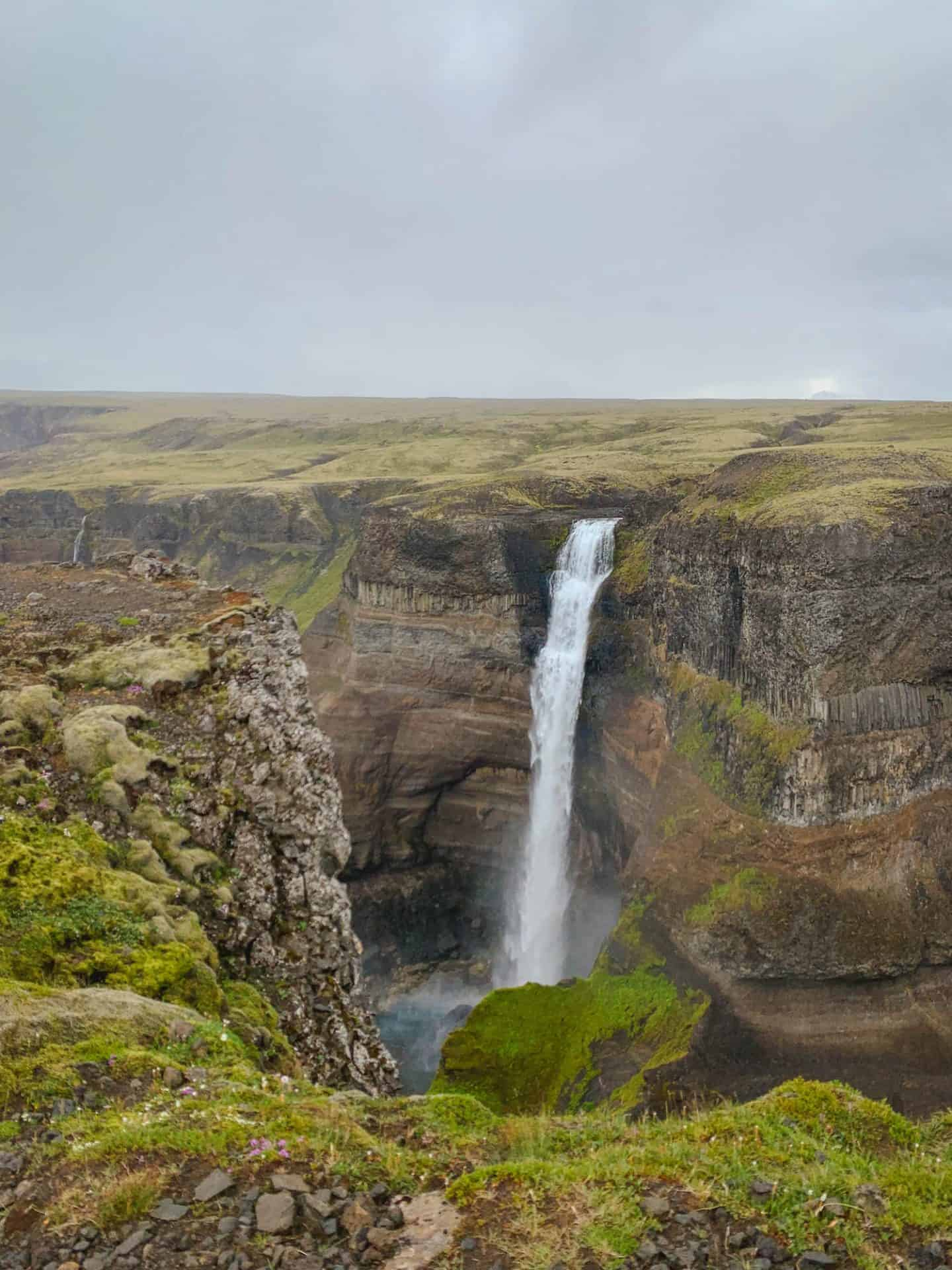 Háifoss Waterfall in the Icelandic Highlands