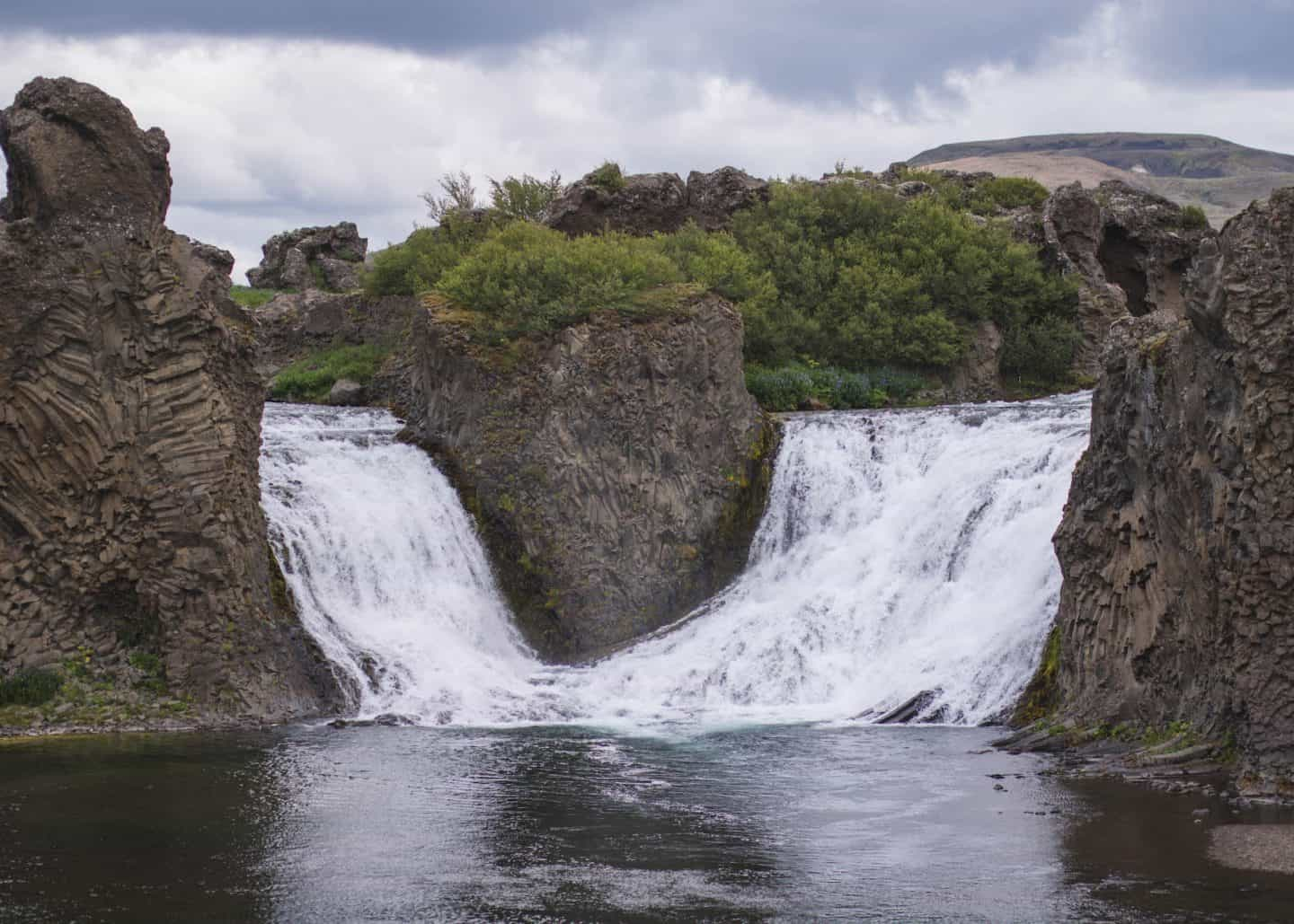 Hjalparfoss Waterfall along the Golden Circle on Iceland's Ring Road