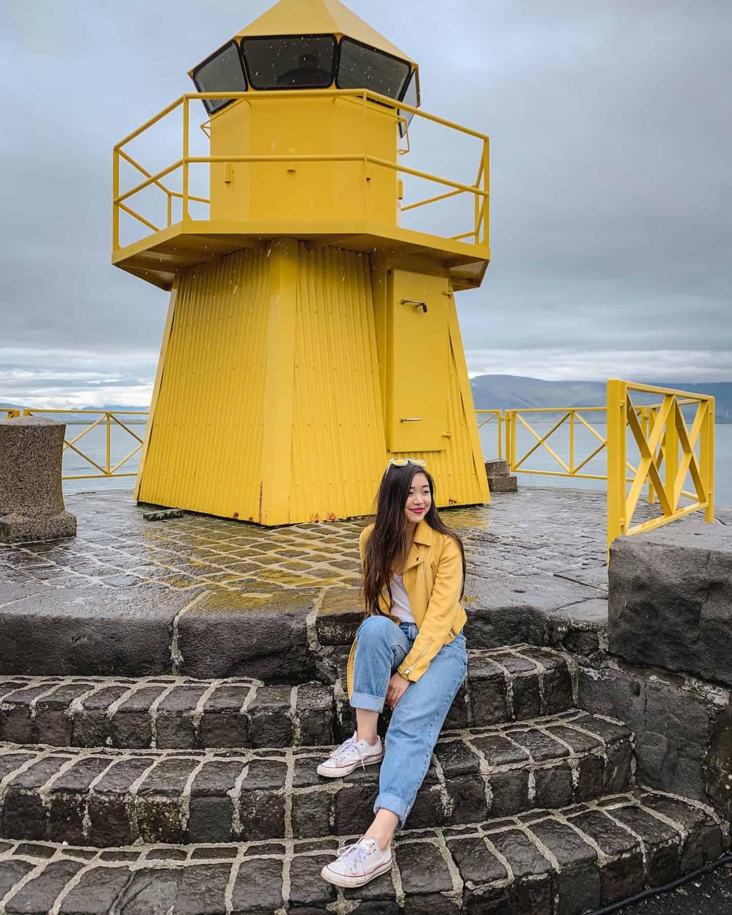 Nordurgardi yellow lighthouse in Reykjavik, Iceland